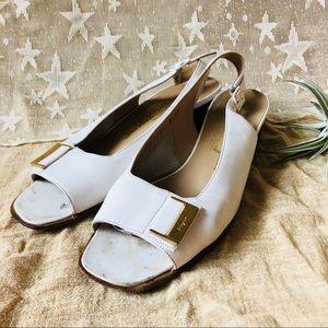 Salvatore Ferragamo • White Slingback Heels